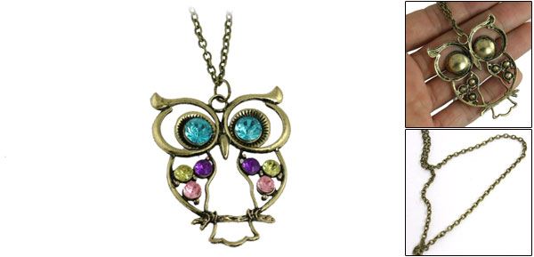 Women Rhinestone Inlaid Blue Eyes Owl Shape Pendant Chain Necklace Bronze Tone