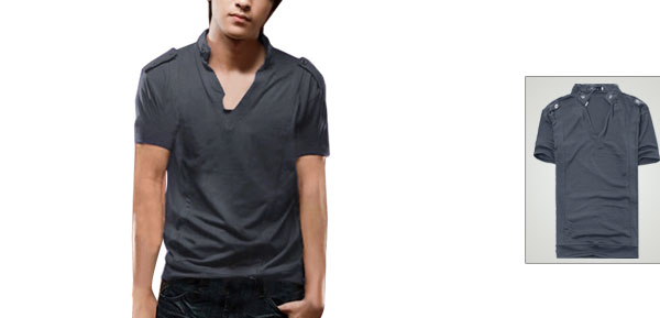 Mens Stylish Casual Button-tab Epaulet T-shirt Tops Dark Gray S