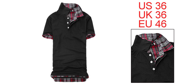 Stylish Mens Casual Plaid Shirt Collar T-shirt Basic Tee Black S
