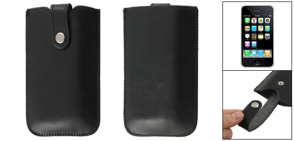 Black Faux Leather Pull Up Pouch Case for iPhone 3G 3GS