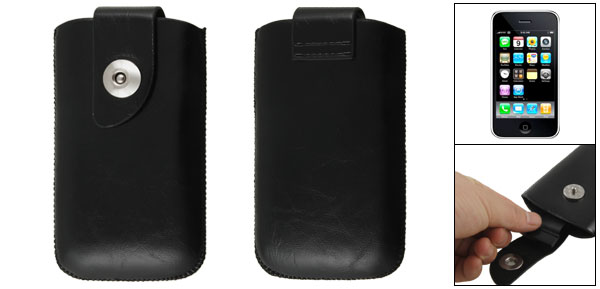 Pull Up Black Faux Leather Pouch Cover for iPhone 3G 3GS