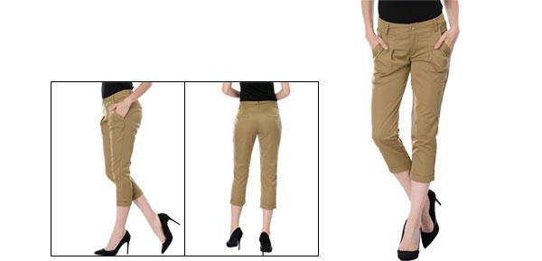 Woman Khaki Belt Loop Slant Pocket Cropped Casual Pants M
