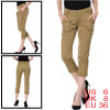 Woman Khaki Belt Loop Slant Pocket Cropped Casual Pants M