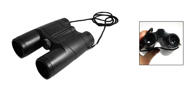 Black Plastic 35mm Lens 4X Folding Binoculars Telescope w String