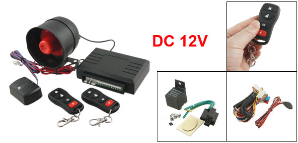 Anti-theft Universal Auto Car Alarm Security System w 2 4-Key Remotes