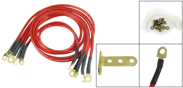 5 Pcs Red Plastic Sleeve Vehicle Wiring Cable Kit for Battery