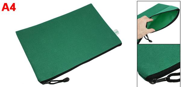 Office   A4 Green Nylon Hand Strap Design Paper Organizer Files Bag