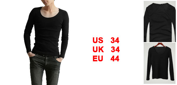 NEW Mens Trendy Scoop Neck Casual Base Tee T-shirt Tops Black XS