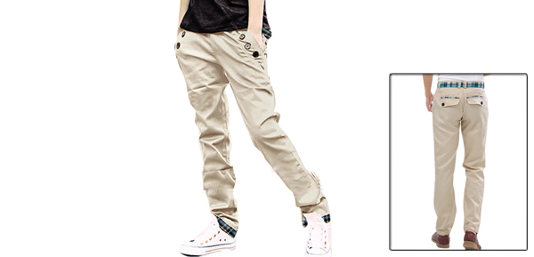 Mens Slim Fit Grid Check Straight Casual Pants Trousers Beige W28