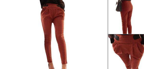 Women Stretchy Skinny Dark Orange Drop Crotch Harem Pants S