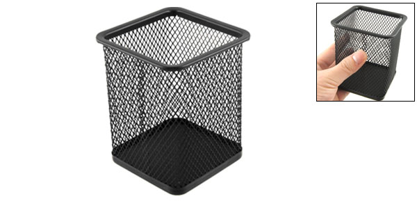 Black Metal Mesh Rectangle Shaped Pen Pencil Holder Container