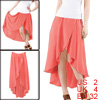 Women Watermelon Red Asymmetrical Hem Smocked Elastic Waist Skirt XS