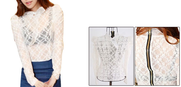 Women Long Sleeve Semi Sheer Lace Zip Up Back White Blouse S