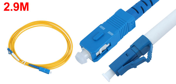 2.9M Single Mode LC to SC Connector Fiber Optic Jumper Cable Cord 2mm
