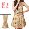 Women Scoop Neck Sleeveless Swallow Print Beige Chiffon Dress S