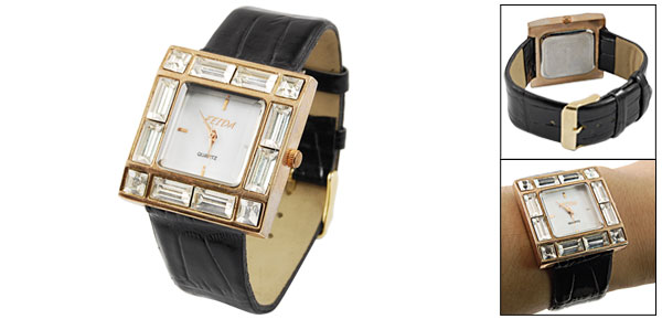 Lady Black Faux Leather Band Square Case Clear Plastic Crystal Decor twatch