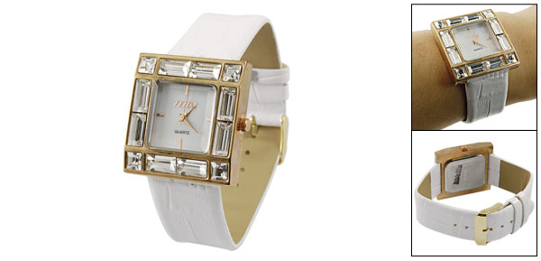 White Faux Leather Band Plastic Crystal Details Ladies Wristwatch