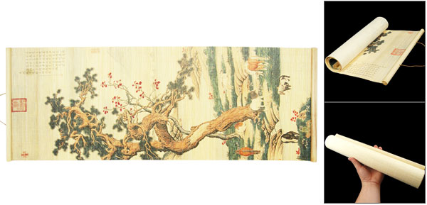 Wall Hanging Bamboo Mat Chinese Brush Pines Horses Painting Landscape Picture Decor