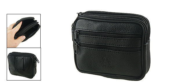 Man Black Faux Leather Zippered Belt Holder Waist Wallet Bag