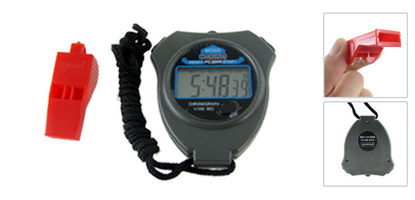 Dark Gray Plastic Hour Minute Second Display Sports Stopwatch w Red Whistle