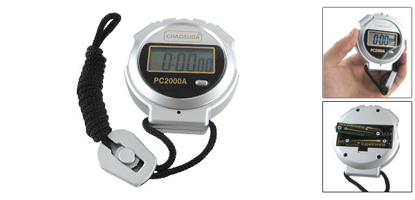 Silver Tone Training Game Match Sports Stopwatch w Neck String