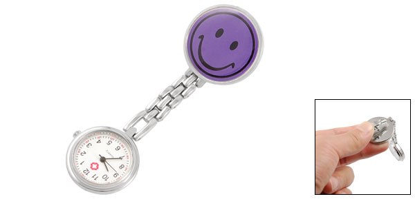 Smiling Face Pin Brooch Round Dial Arabic Numerals Quartz Watch Purple