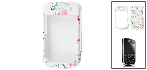Floral Print Rubberized Plastic Case White for BlackBerry 9630