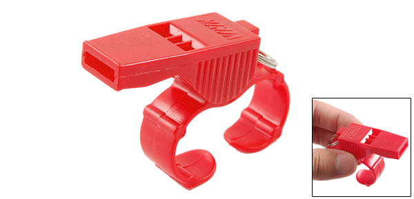 Red Plastic Shell Sports Game Match Pealess Finger Grip Whistle for Referee Coach