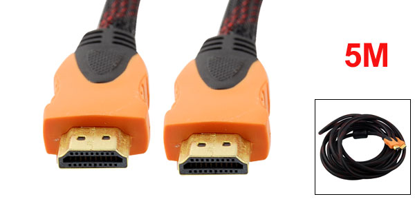 5 Meters Black Red 19 Pin High Male to Male HDMI Extension Cable