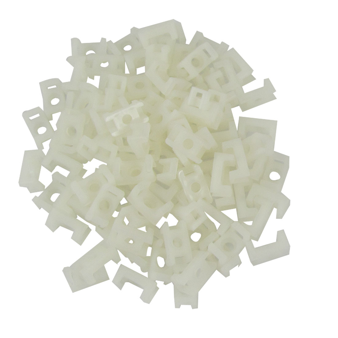 White-Plastic-3mm-Wire-Buddle-Cable-Tie-Mount-Saddle-100-Pcs
