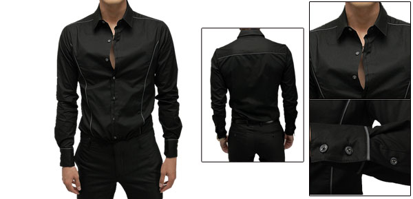 Men Long Sleeve Point Collar Buttoned Cuff Shirt Top Black M