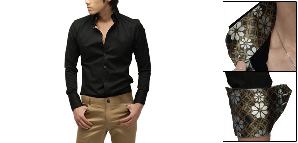 Mens Slim Fit Long Sleeve Floral Lined Casual Shirt Top Black S