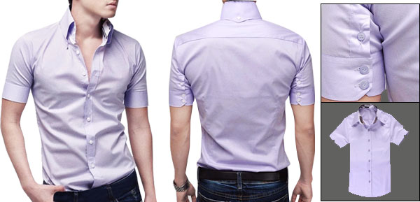 Mens Slim Fit Casual Stylish Dress Short Sleeve Shirts Tops Purple S
