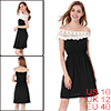 Woman Black White Guipure Boat Neck Sleeveless Tunic Dress M