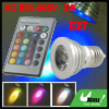 Remote Control E27 Base 3W Multi Color Light LED Lamp Bulb AC 85V...
