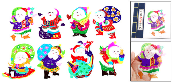 Colorful Santa Claus Handicraft Christmas Gift Chinese Papercut Book
