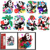 Colorful Panda Character Handmade Folk Art Chinese Paper Cut