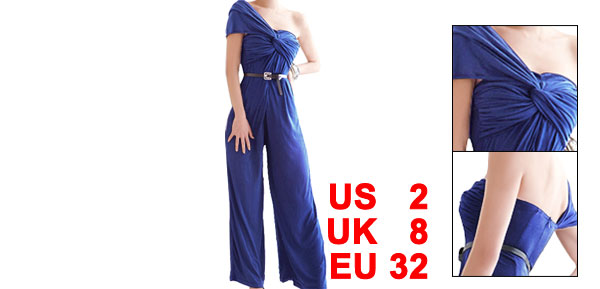 Woman Royal Blue Sleeveless Knot Bust Single Shoulder Jumpsuit XS