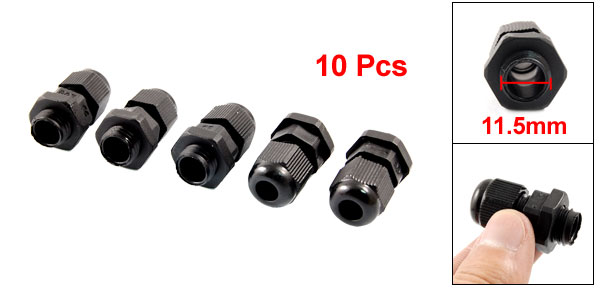 10 Pcs PG7 Black Plastic Waterproof Connector Gland 3-6.5mm Dia Cable