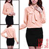 Tie-bow Neck Long Sleeve Semi Sheer Light Pink Chiffon Blouse S f...