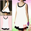 Female Sleeveless Scoop Neck Two Tone White Pullov...