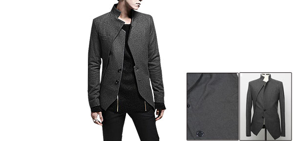 Men Slim Fit Dark Gray Worsted Long Sleeve Lined Jacket Coat M