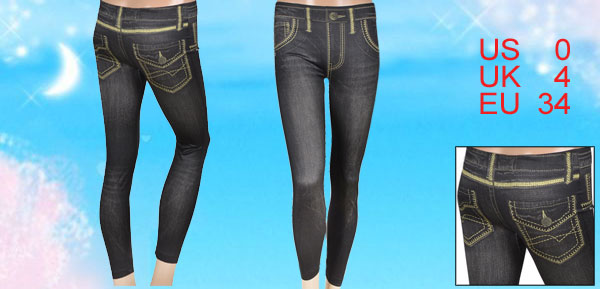 Women Black Formfitting Faux Jeans Stretchy Skinny Pants Leggings XS