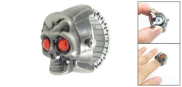 Elastic Band Gray Red Rhinestone Decor Skull Style Finger Ring Watch US 5 1/2
