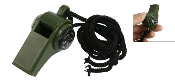 Army Green Plastic 3 in 1 Survival Compass Thermometer Whistle w Lanyard