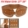 Studs Decor Perforated Faux Leather Stretchy Waist Belt Brown for...