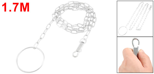 Silver Tone 1.7M Adjustable Metal Chain Link Pet Dog Lead Leash w Ring Handle
