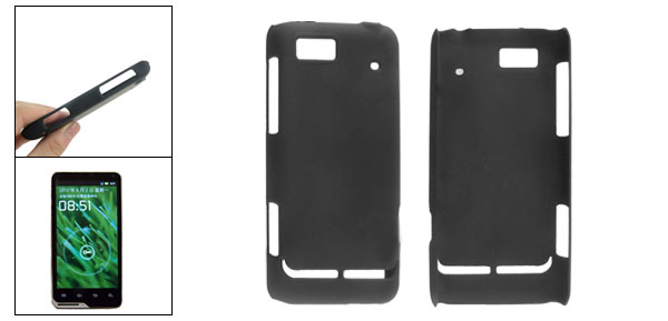 Black Rubberized Hard Plastic Back Cover for Motorola XT615