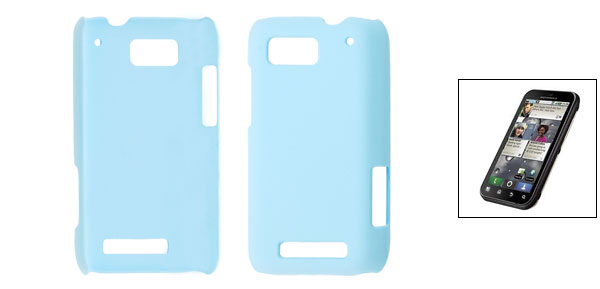 Sky Blue Smooth Hard Rubberized Back Cover for Motorola Defy MB525