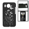 Black Hard Plastic Carved Flower Back Case for HTC Desire HD G10/...